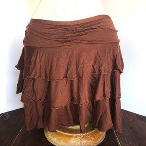 Brown Diane Von Furstenberg Ruffle Skirt